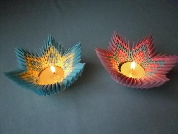 origami sfesnic cu lumanare in forma de floare